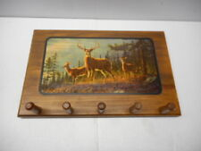 "5 Prong Wood Coat Hanger With Deer Scenery Painting 18"" x 11"""