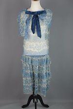 VTG 1920s Women's Blue Chiffon Floral Print Drop Waist Dress #1636 20s