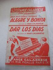 Partitura Alegre y Bonita & Dar los días ángel Pasodoble de Calabrese