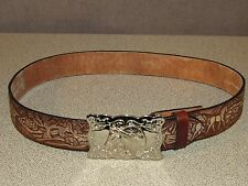 Equestrian Horse Theme Riding Brown Leather Jeans Belt Size 26