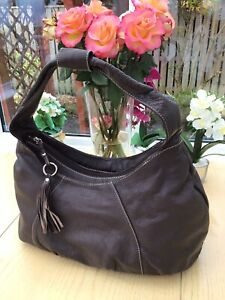Osprey OSP Soft Brown Leather Large Hobo Slouch Shoulder Bag, Floral Linings