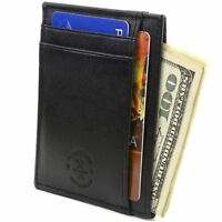 Hammer Anvil Minimalist Front Pocket Wallet RFID Blocking Thin Leather Card Case