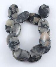 10 Perles en Pierre Naturelle Jaspe Ovale Gris marbré Noir 24mm x 17mm x 4mm