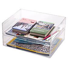 Deluxe Stacking Acrylic Document Paper Trays, Desktop Organizer Racks, Set of 2