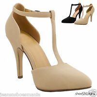New Women Fashion Strappy T-Strap Ankle Buckle Straps Stiletto High Heel Shoes
