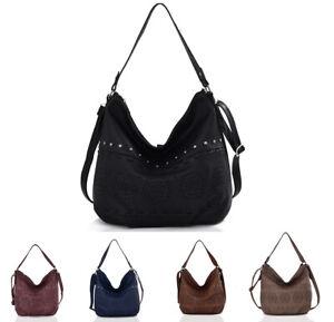 Women Studded Faux Slouch Soft Leather With Laser Cut Shoulder Handbag Tote Bag