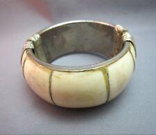 Vtg Hinged Bovine Bangle Bracelet Pin Catch Silver Plate Classic Embossed Detail