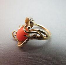 Vintage 14K Yellow Gold Salmon Coral Ring Size 5.5 Fancy 3D Scrolls 5g Estate