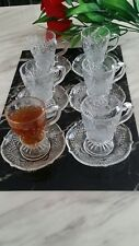 12pc Designer Glass Turkish Arabic Tea Coffee Serving Set Cups Saucers Set of 6