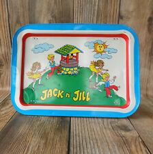Vintage Jack and Jill TV Tray Metal Foldable Snack Lap Child Kids Nursery Rhyme