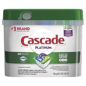 ActionPacs Dishwasher Detergent Cascade Platinum No PreWash Fresh Scent 48 Count