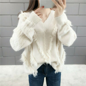 Women's V-neck Knitted Sweater Tassel Long Sleeve Pullovers Jumpers Casual Tops