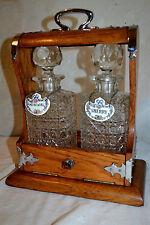 New listing Antique c1870 Oak Silver Tantalus Cut glass Decanter Crown Staffordshire England