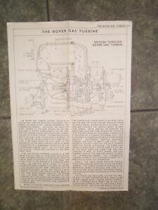 THE ROVER GAS TURBINE ENGINE RARE DATA WALL CHART DIAGRAM DISPLAY PUB RESTAURANT