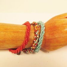 Set of 3 Turq Red Multi Color Handmade Beaded Twisted Rope Seed Bead Bracelets