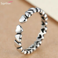 Solid 925 Sterling Silver Puffy Linked Love Hearts Knuckle Midi Ring Open Band N
