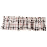 """New Primitive Country Farmhouse BLACK RED PLAID CHECK VALANCE Curtains 72"""""""