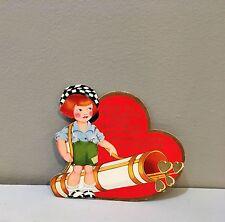 Vtg Valentine Card Golf Caddy Redhead Boy Mary Jane Shoes Lad Laddie 10's 20's