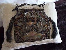 Antique Chinese Rank Badge Main Brodé métallisé Threads Bourse Sac RARE