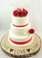WEDDING CAKE TOPPER ROSE & PEARL POSY - SINGLE ROSE SATIN RIBBON & PEARLS SET