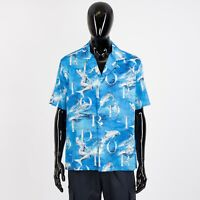 DIOR HOMME 1100$ x SORAYAMA Cotton Hawaiian Shirt In Blue With Dior Print
