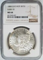 1884 O/O Silver Morgan Dollar NGC MS 64 Vam 10 DDO EAR Mint Error Hot 50 Coin