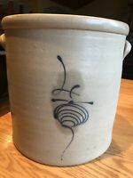 Antique Four Gallon Blue Bee Sting Stoneware Red Wing Crock With Handles