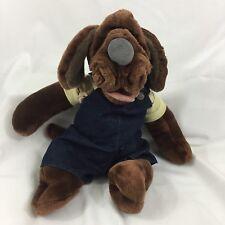 "Dark Brown 16"" WRINKLES Dog Plush Hand Puppet By Ganz Dressed Overalls EUC!"