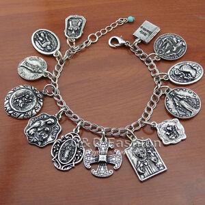 Vintage Silver Coins God Saints PRAY FOR US Cross Bible Chain Bracelet Bangle