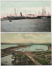 Grangemouth Stirlingshire Scotland 2 Colour Printed Dock View Postcards c.1908