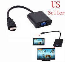 US SELLER FEMALE VGA TO MALE HDMI MONITOR CABLE COMPUTER TV CORD 15-PIN 1080P PC