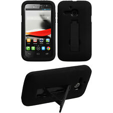 Blk on Blk 2-Layer V Stand Cover Case ALCATEL 5020T 5020 One Touch Evolve M'Pop