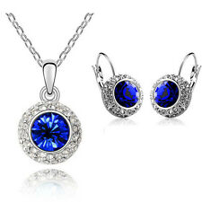 Sapphire / Royal Blue Jewellery Set Circle Earrings & Necklace with Pendant S238