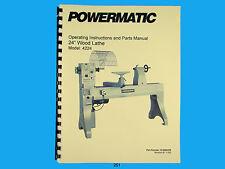 "Powermatic  Model 4224  24"" Wood Lathe Instruction & Parts List Manual *250"