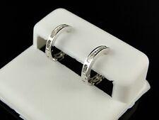 LADIES WHITE GOLD FINISH BAGUETTE DIAMOND ROUND HOOP HUGGIES EARRINGS 12MM