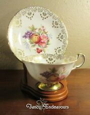 Antique Paragon Fruit Flowers & Gold Footed Cup and Saucer Set Beautiful!!!