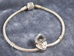 PANDORA Sterling Silver Heart Gold Diamond Locket Charm Bracelet