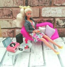 Vintage Mattel Barbie Doll & Furniture Bundle Sofa Record Player Retro Relaxing