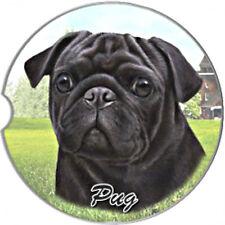 E&S Pets Absorbent Car Coaster Dog Breed Stoneware Pug Black Puppy