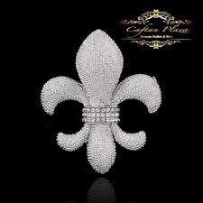 Wunderschöne Edel Brosche Braut Strass Kristall im Vintage Silber weiss