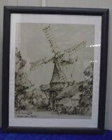 """Gerd Gramberg """"Mühle vor Felde"""", Sepiatuschezeichnung, signiert, datiert, 1979"""