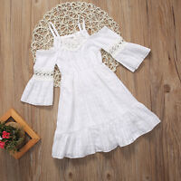US Kid Baby Girl White Lace Summer Floral Party Pageant Tutu Dress Clothes Beach