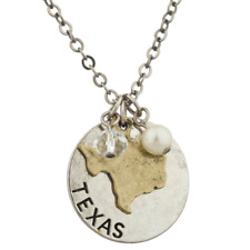 Lux Accessories Burnish Silver Texas State TX Shape Charm Necklace