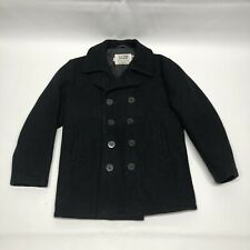 Schott NYC US 740N Wool Naval Pea Coat Jacket Mens Size 40 Double Breasted USA