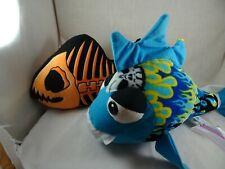 "Classic Toy Big Eyed Blue Toothed Shark 14"" & B. J. Toy Skeleton Fish 12"" plush"