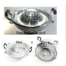 "Thai Mookata 1 Set BBQ Steak With Stove Aluminum 16 "" Korean Grill Pan Charcoal"