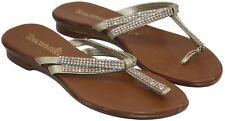 Toscanella Womens Ladies Gold Rhinestone Slip On Thong Sandals Shoes Size 8