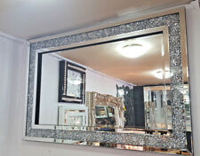 Gatsby Crushed Diamond Crystal Glass Silver Frame Bevelled Wall Mirror 120x80cm