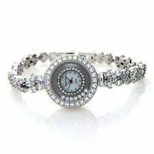 Solid 925 Sterling Silver Ladies Women Wrist Watch with Cubic Zirconia 7.25 Inch