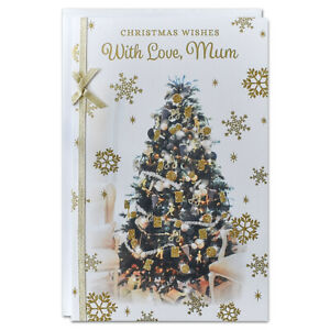 MUM CHRISTMAS CARD ~ EXTRA LARGE 8 PAGE VERSE ~ QUALITY CARD GOLD TREE DESIGN
